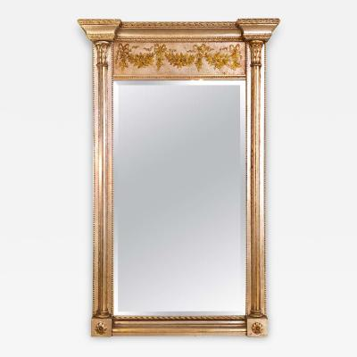 La Barge Italian Console Mirror Having Silver Leaf Eglomise Design by LaBarge