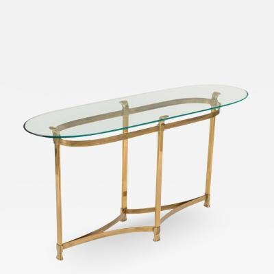 La Barge La Barge Brass Console Table with Glass Top Italy 1970s