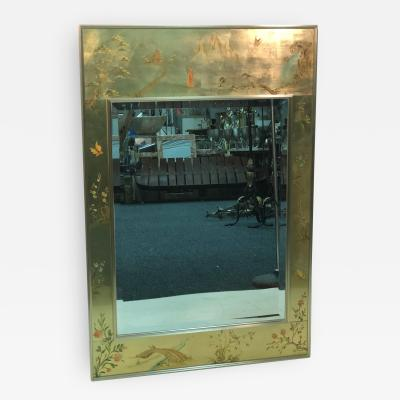 La Barge La Barge Hand Painted Gold Leaf Eglomise Mirror