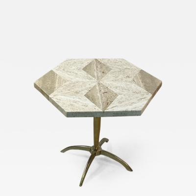 La Barge MID CENTURY MODERN HEXAGONAL DIAMOND PATTERNED TRAVERTINE TOP TABLE