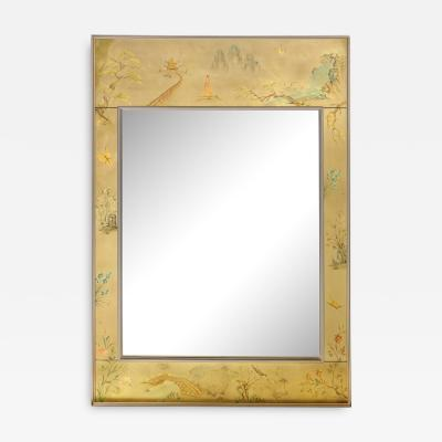 La Barge Mid Century Modern Rectangular La Barge Hand Painted glomis Chinoiserie Mirror