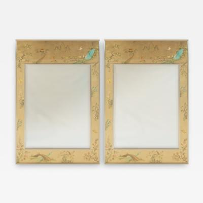 La Barge Pair of Substantial LaBarge Reverse Painted Chinoiserie Mirrors