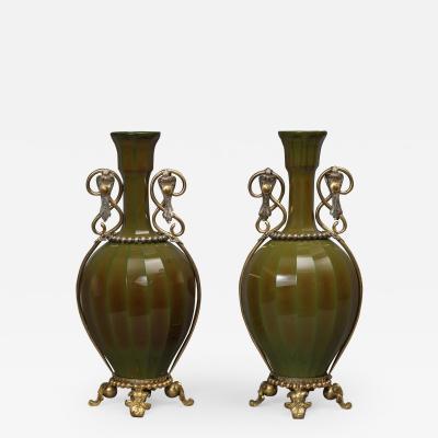La Compagnie des Cristalleries de Saint Louis An Unusual Pair Of Lithyalin Green Glass Vases