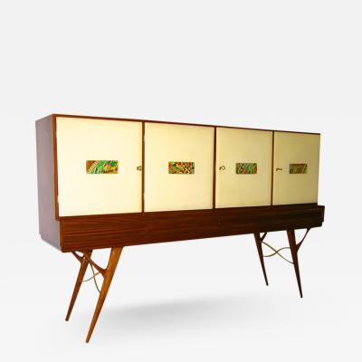 La Permanente Mobili Cant 1960s Elegant Italian Vintage Parchment and Majolica Cabinet Credenza