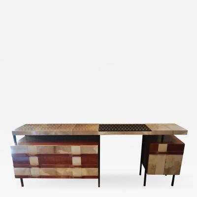 La Permanente Mobili Cant A goat leather and wood sideboard by La Permanente Mobili Cantu Italy 50