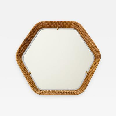 La Permanente Mobili Cant Italian Rattan and Brass Hexagon Shaped Mirror by Cantu 1950s