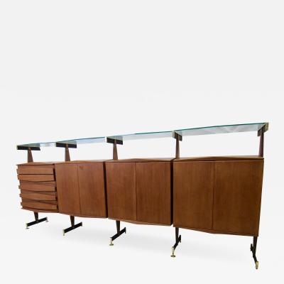La Permanente Mobili Cant Midcentury Italian Teak and Bronze Four Cabinet Sideboard Suspended Glass 1960