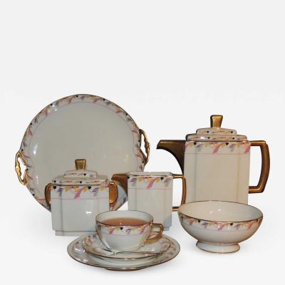 La Vielle Abbaye Art Deco Limoges Tea Coffee Dessert Set Service for 16