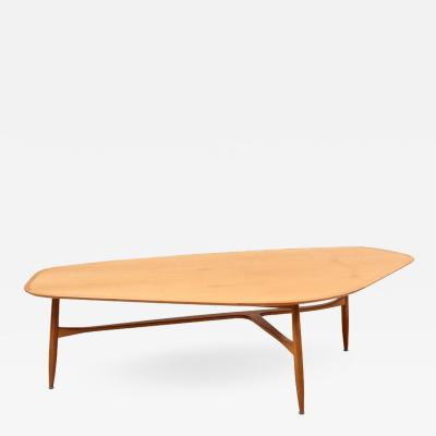 Laauser Large Boomerang Shaped Coffee Table with Polished Blonde Teak Wood by Laauser