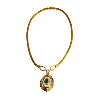 Lalaounis 18 Karat Gold Rocky Crystal Emerald and Diamond Necklace by Lalaounis Greece