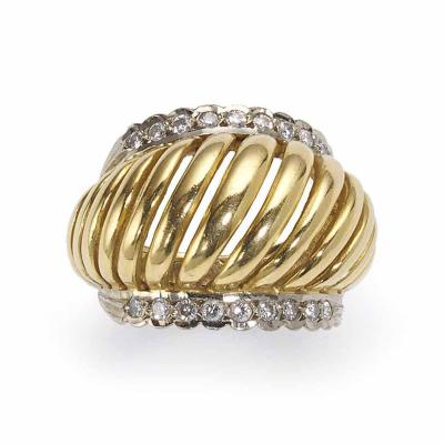 Lalaounis Lalaounis Diamond Two Color Gold Domed Ring