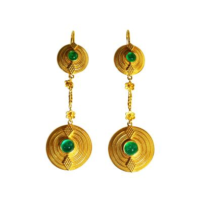Lalaounis Pair 18 Karat Gold and Emerald Pendant Earrings by Lalaounis Greece