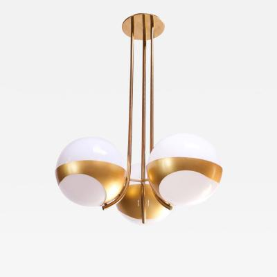 Lamperti Large Italian Modern Brass and Milk Glass Chandelier by Lamperti
