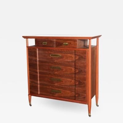 Landstrom Furniture Co Landstrom Furn Co Mahogany Walnut White Vitrolite 6 Drawer Rolling Dresser