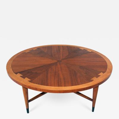Lane Furniture An American Modern Walnut and Teak Circular Low Table Lane
