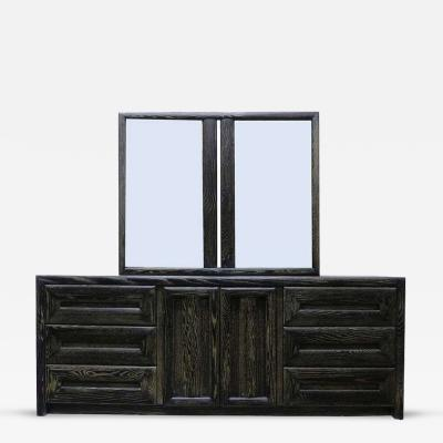 Lane Furniture Cerused Nine Drawer Dresser with Twin Mirrors by Lane