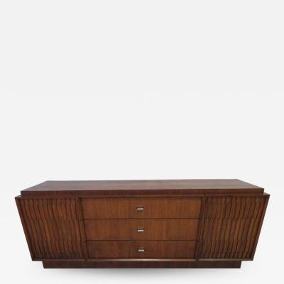 Lane Furniture Handsome American Brutalist Modern Sculptural Walnut Credenza Mid Century