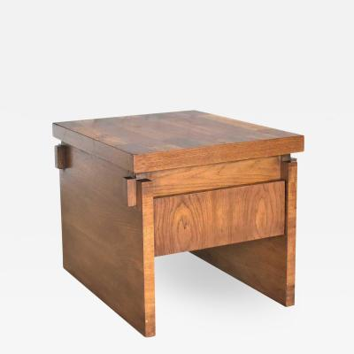 Lane Furniture Lane furniture modern brutalist chunky oak parquet side table or end table
