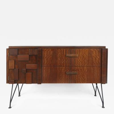 Lane Furniture Mid Century Lane Block Front Brutalist Cabinet W Iron Legs
