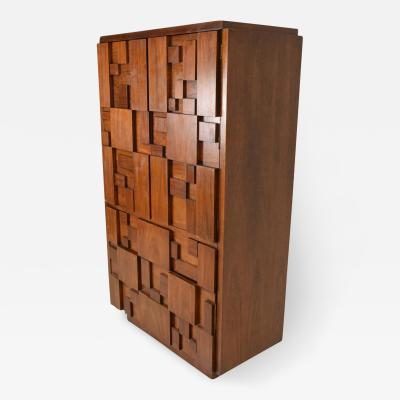 Lane Furniture Mid Century Modern Brutalist Highboy By Lane Patchwork Walnut Tiles