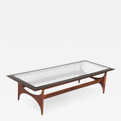 Lane Furniture Mid Century Sculpted Walnut Glass Top Coffee Table by Lane