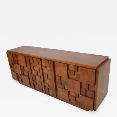 Lane Furniture Milo BaughmanMid Century Modern Brutalist Dresser by Lane Patchwork Walnut Tiles
