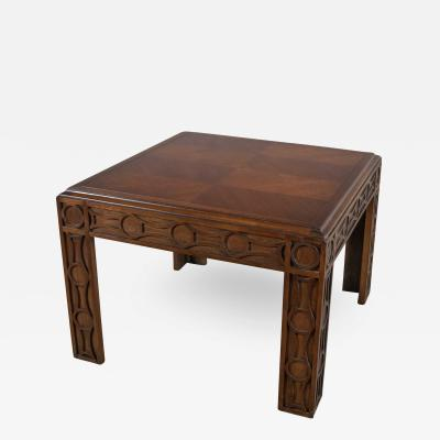 Lane Furniture Modern square lane end or side table with carved leg design chevron veneer top