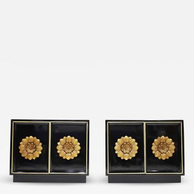 Lane Furniture Pair of Lane Floral Chests in Black Laquer