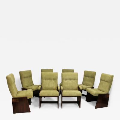 Lane Furniture Set of Eight Lane Brutalist Style Dining Chairs