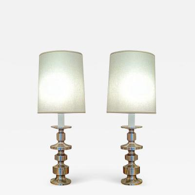Laurel Lamp Company A Rare Pair of Laurel Lamps In Brushed Steel
