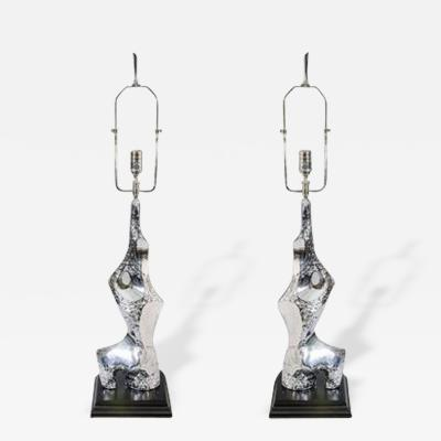 Laurel Lamp Company Brutalist Pair of Chrome Table Lamps by Laurel circa 1970