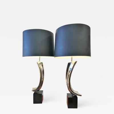 Laurel Lamp Company Impeccable Rare Pair of Sculptural Chrome 1960 s Lamps by Laurel Lamp Co