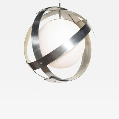 Laurel Lamp Company Laurel Lamp Co Aluminum Banded Saturn Hanging Pendant with White Glass Globe