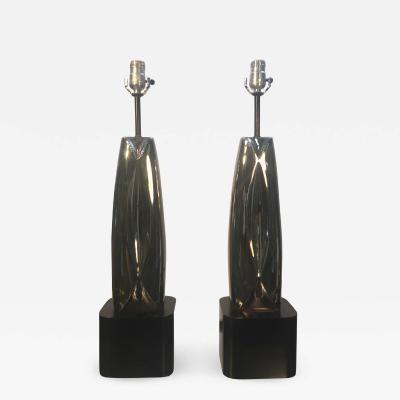 Laurel Lamp Company MODERNIST PAIR OF CHROME SCULPTURAL LAUREL LAMPS