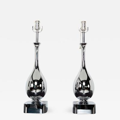 Laurel Lamp Company Mid Century Modern Pair of Chrome Plated Tear Drop Table Lamps by Laurel
