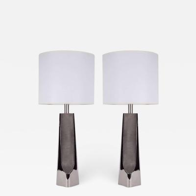 Laurel Lamp Company Modernist Brushed Polished Nickel Lamps