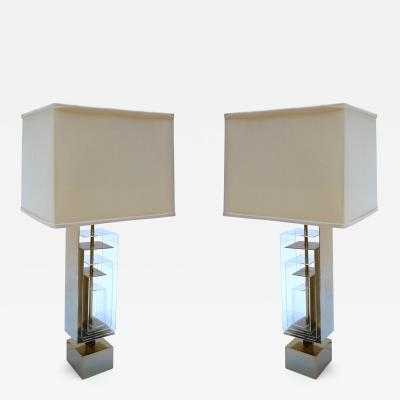 Laurel Lamp Company Pair of 1960s Brass and Acrylic Table Lamps by Laurel