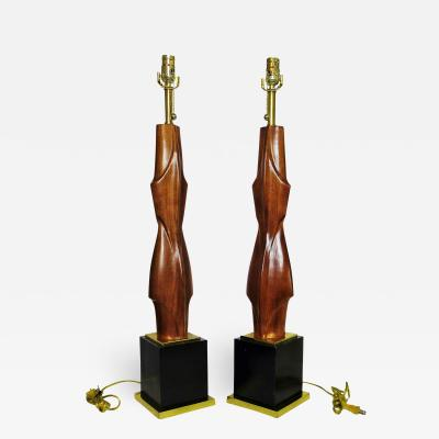 Laurel Lamp Company Pair of American Modern Mahogany and Brass Table Lamps Laurel Lamp Company