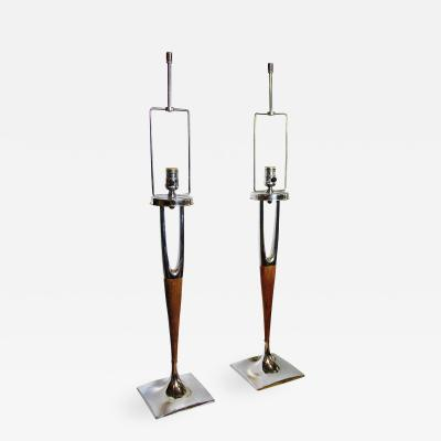 Laurel Lamp Company Pair of American Modern Mahogany and Polished Nickel Table Lamps Laurel Lamp Co