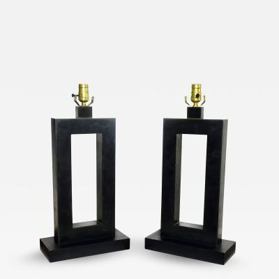 Laurel Lamp Company Pair of American Modern Rubbed Bronze Table Lamps Laurel Lamp Company