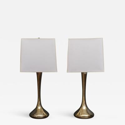 Laurel Lamp Company Pair of Brass Laurel Lamps
