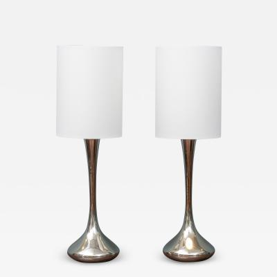 Laurel Lamp Company Pair of Chrome Table Lamps by Laurel