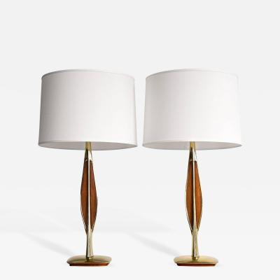 Laurel Lamp Company Pair of Heavry Brass and Walnut Lamps by Laurel