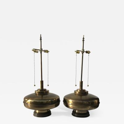 Laurel Lamp Company Pair of Large Scale Antiqued Bronze Lamps