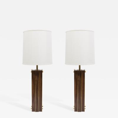 Laurel Lamp Company Pair of Laurel I Beam Table Lamps with Wood and Brass 1950s