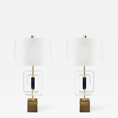 Laurel Lamp Company Pair of Lucite and Brass Lamps by Laurel Lamp Company