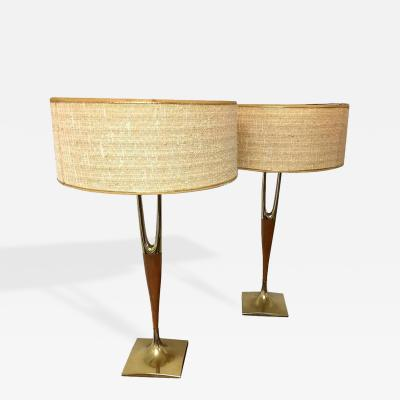 Laurel Lamp Company Pair of Walnut and Brass Lamps by Laurel Lamp Company with Original Shades