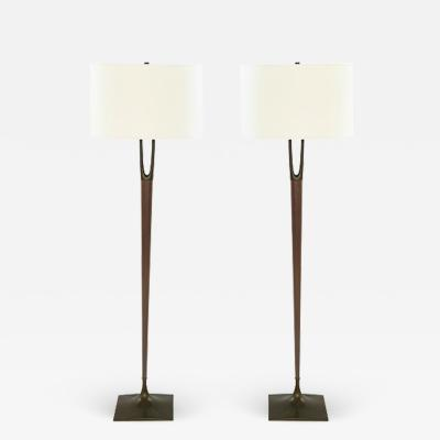 Laurel Lamp Company Pair of Wishbone Floor Lamps by Laurel c 1960s