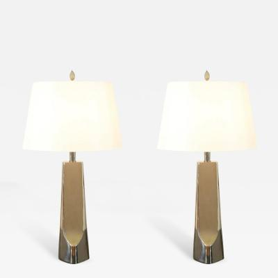Laurel Lamp Company   Sculptural Restored Pair Of Cast Metal Lamps By Laurel  In Nickel
