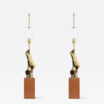 Laurel Lamp Company Stunning Pair of Mid Century Brass Sculptural Modernist Lamps